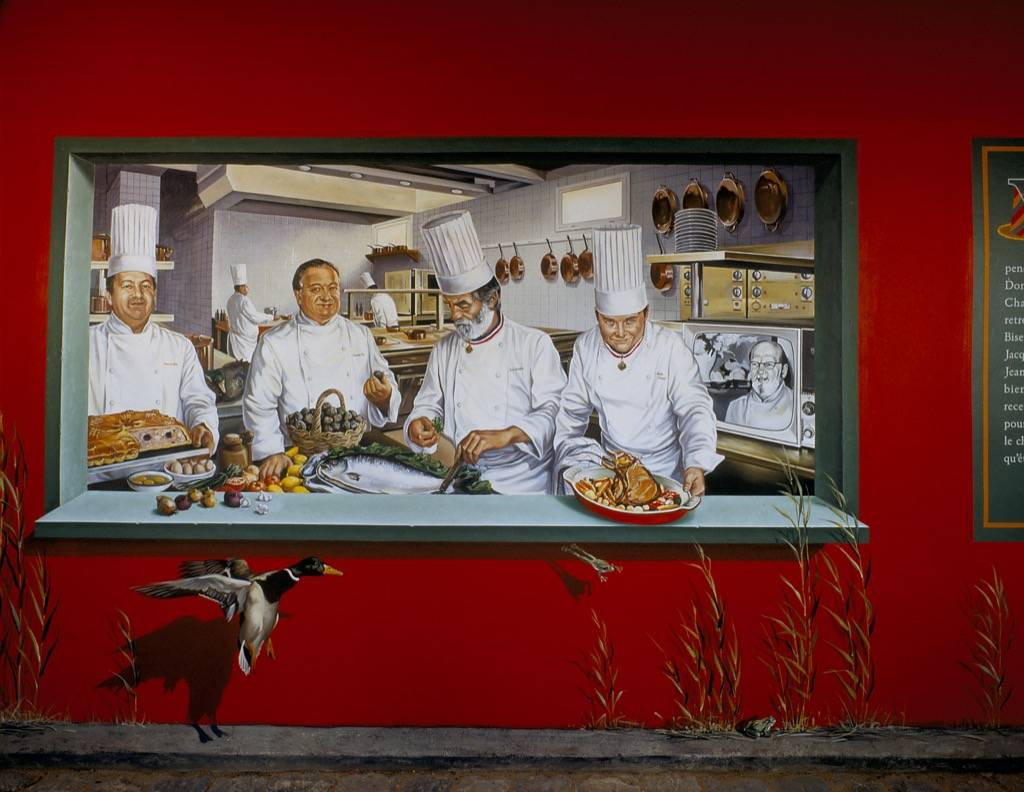 Fresque murale du Restaurant historique Paul Bocuse à Collonges au Mont d'Or en France