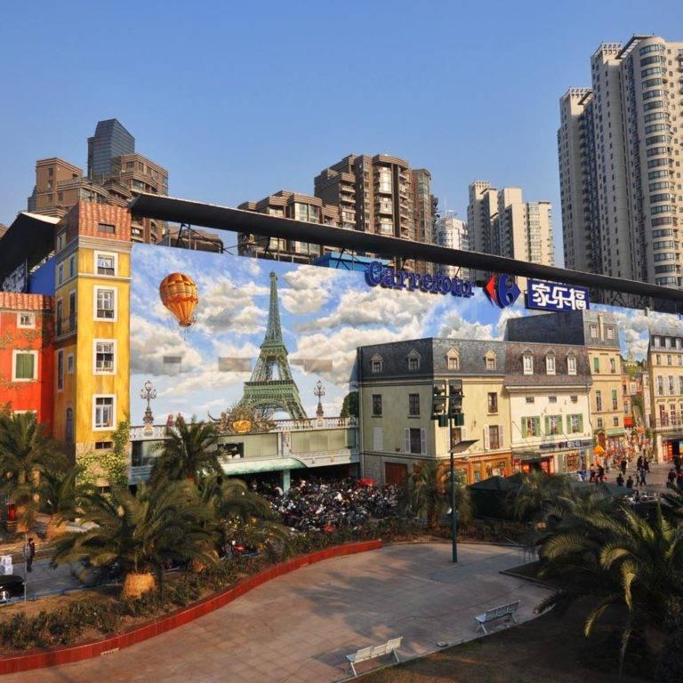 Trompe l'oeil pour Carrefour Wuning Store à Shanghai en Chine.