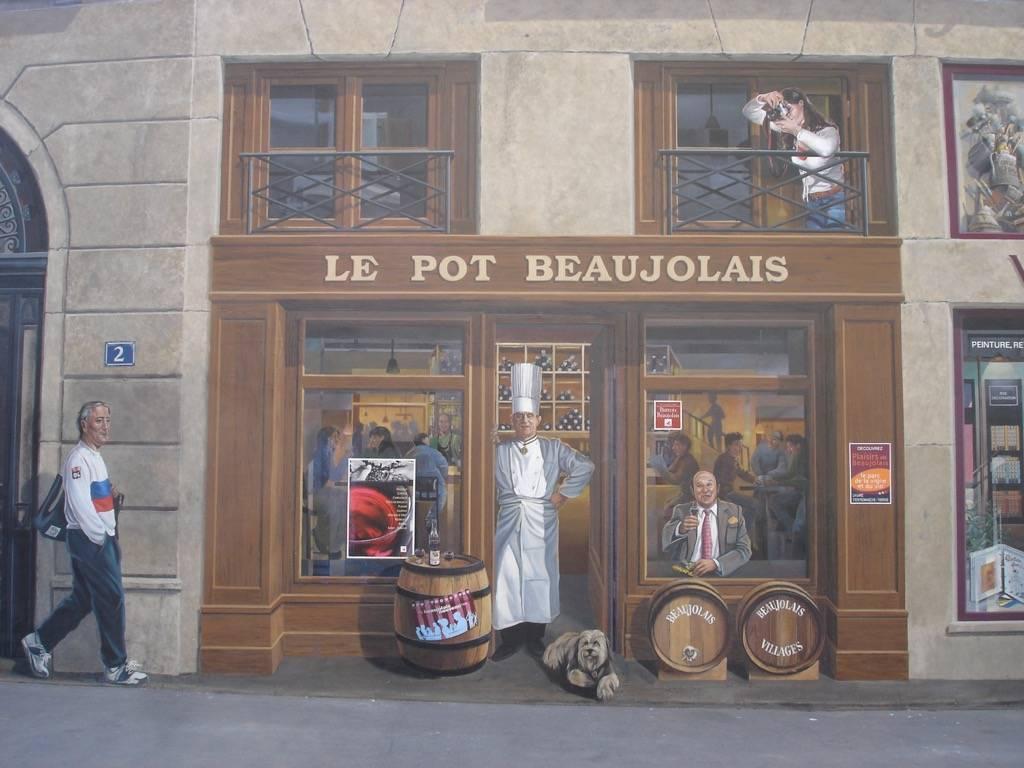 Fresque murale la fresque des Lyonnais à Lyon en France