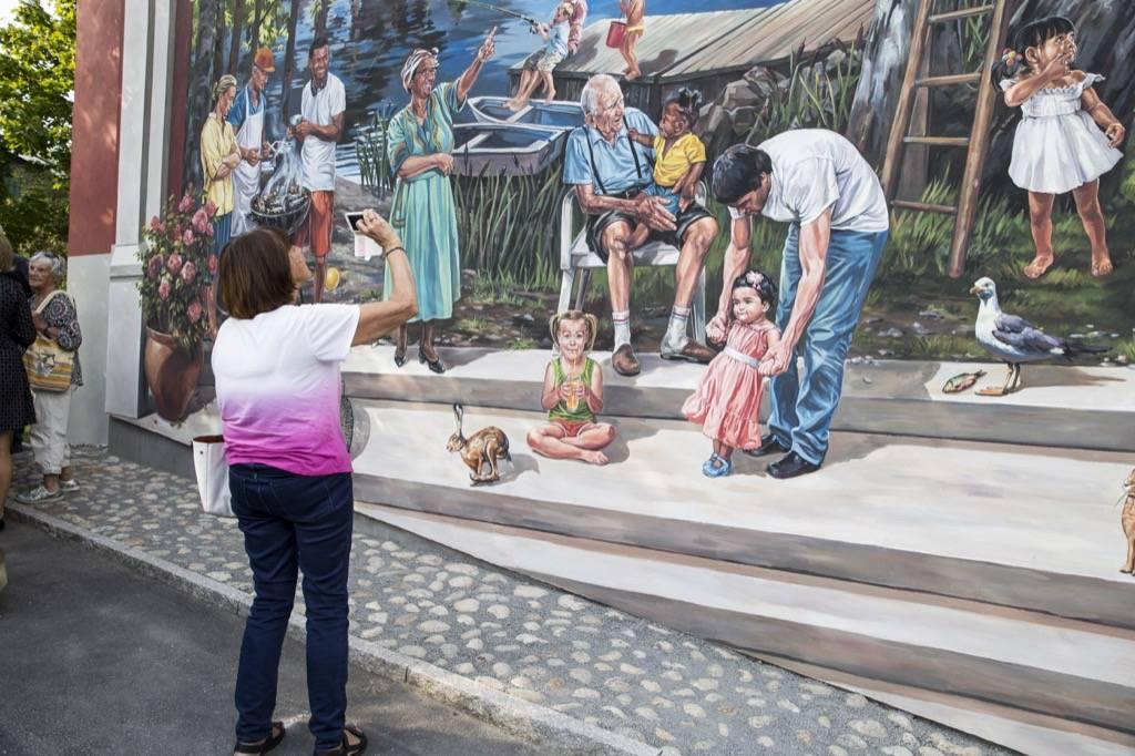 Fresque murale Farsta Strand à Stockholm en Suède