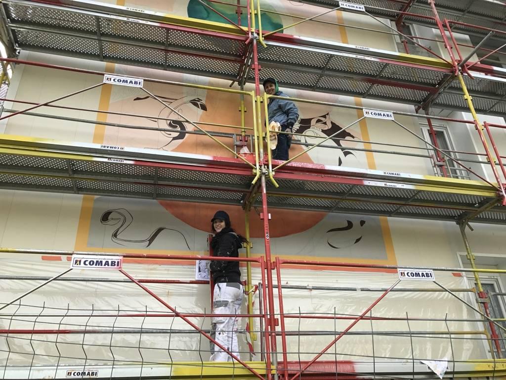 Fresque murale Tonnerre au quartier des lices en France