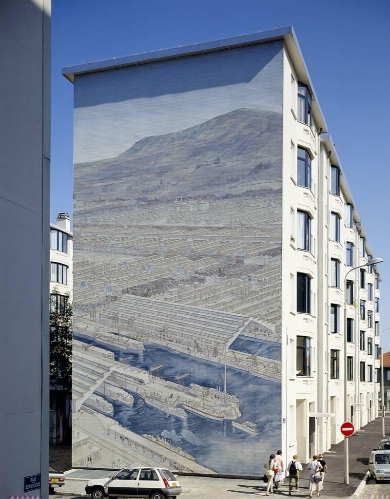 """Fresque murale Musée Urbain Tony Garnier """"Vue des Usines"""" - Lyon 8è - France"""