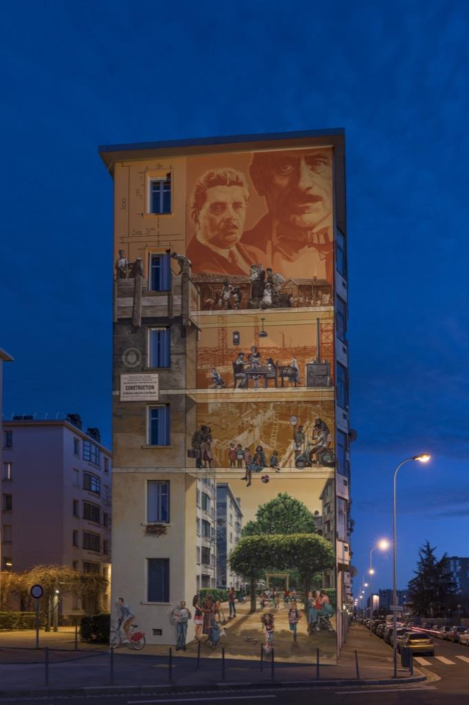 Fresque murale Musée urbain Tony Garnier-Fresque