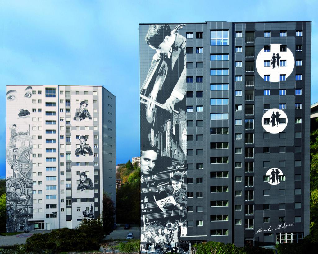 Fresque murale Charlie Chaplin Vevey - Suisse
