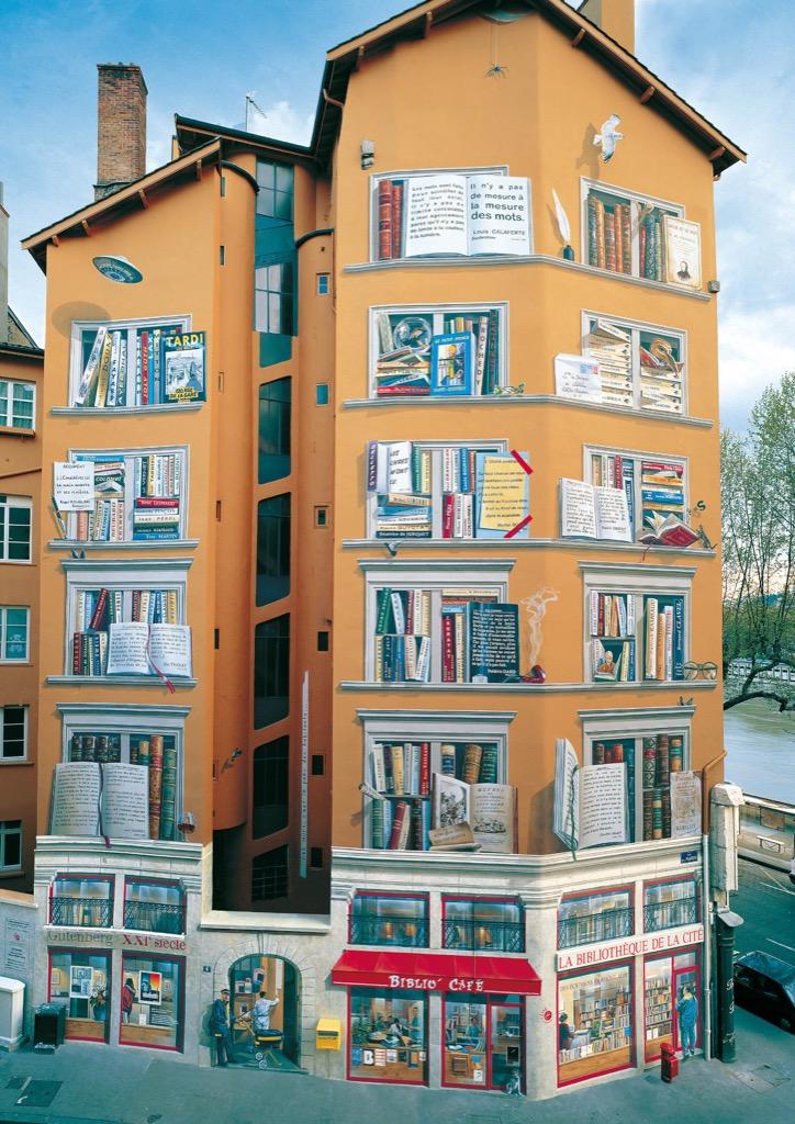 Fresque murale Bibliothèque de la cité Lyon bouquinistes 2