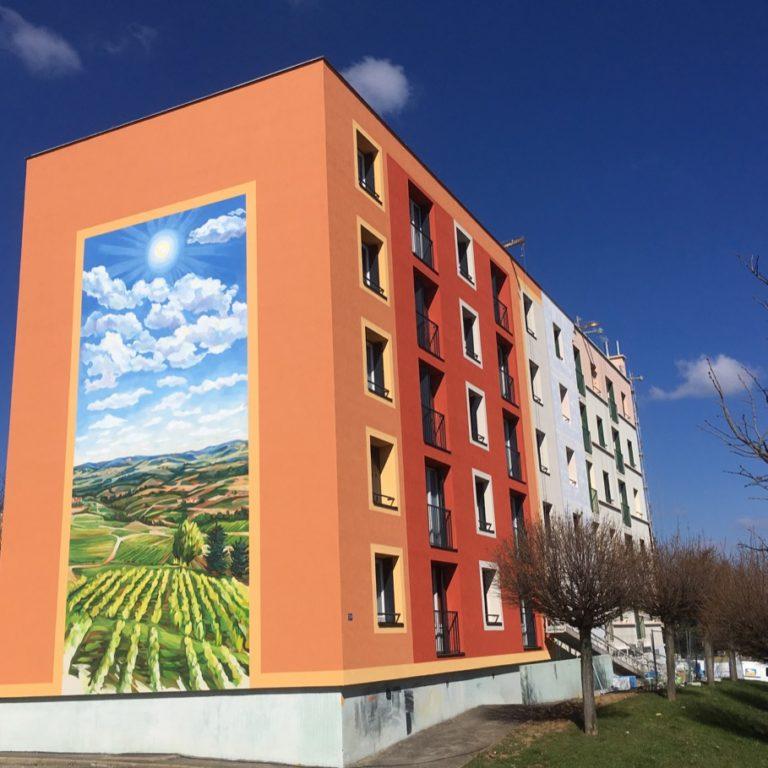 """Fresque murale de HBVS La Chartonnière """"Les quatre saisons"""" - Gleizé - Villefranche-sur-Saône - France"""