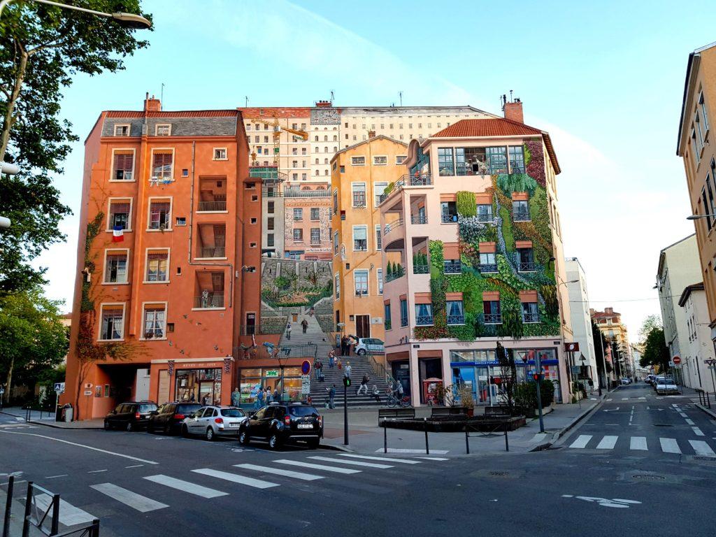 Fresque murale le Mur des Canuts à Lyon en France