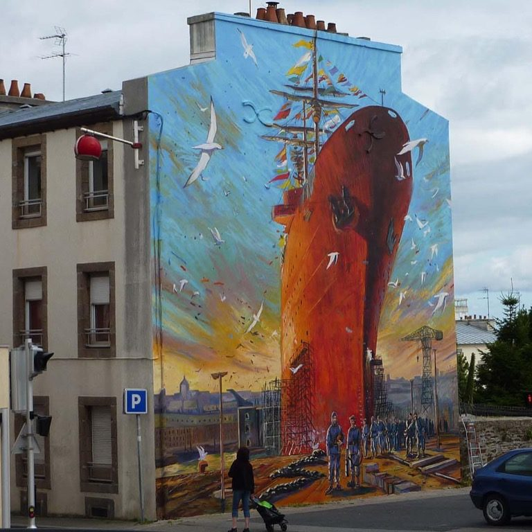 "Fresque murale ""L'Arsenal"" - 195 rue Anatole France - Brest"