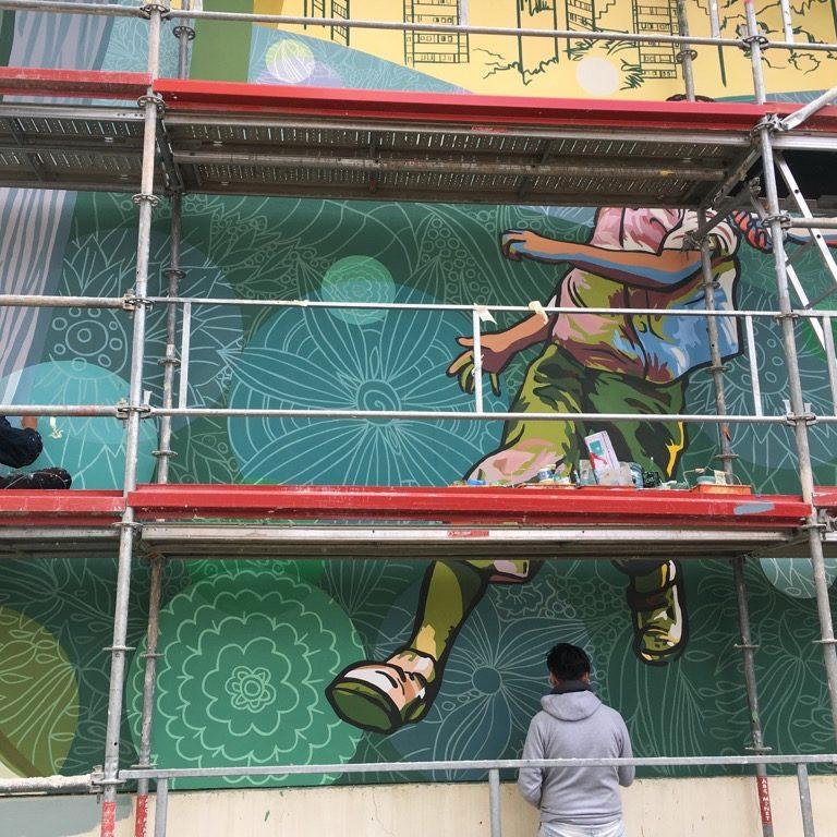 Fresque murale Rillieux VIlle Vie Vue chantier ©CitéCréation
