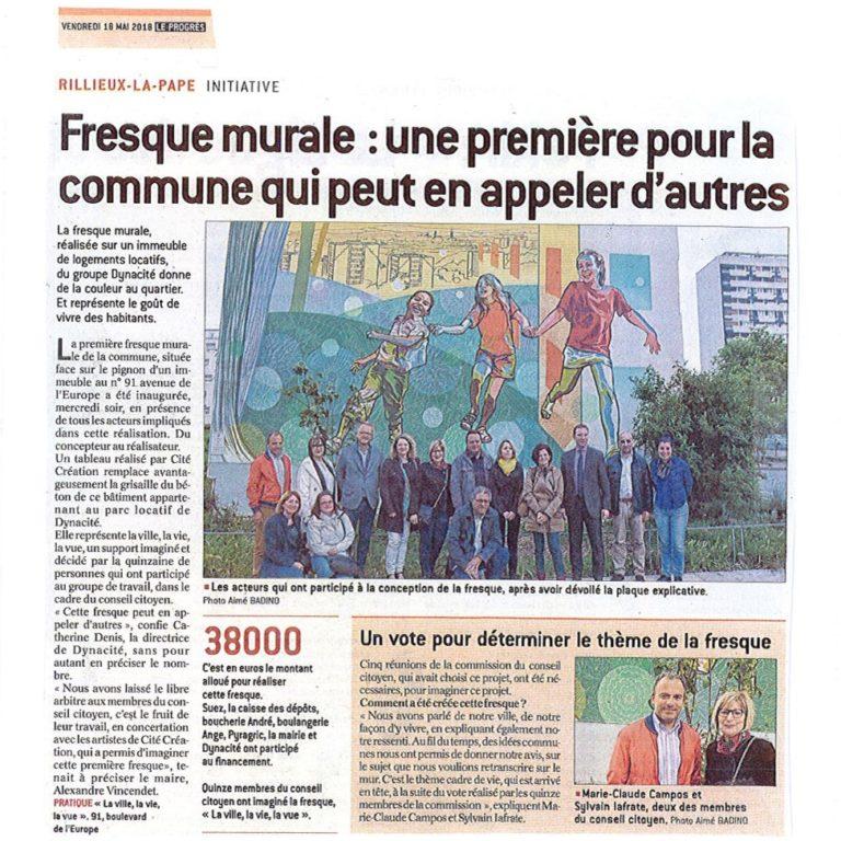 """Fresque murale """"La vie, la ville, la vue"""" - Rilleux-la-Pape (France)"""