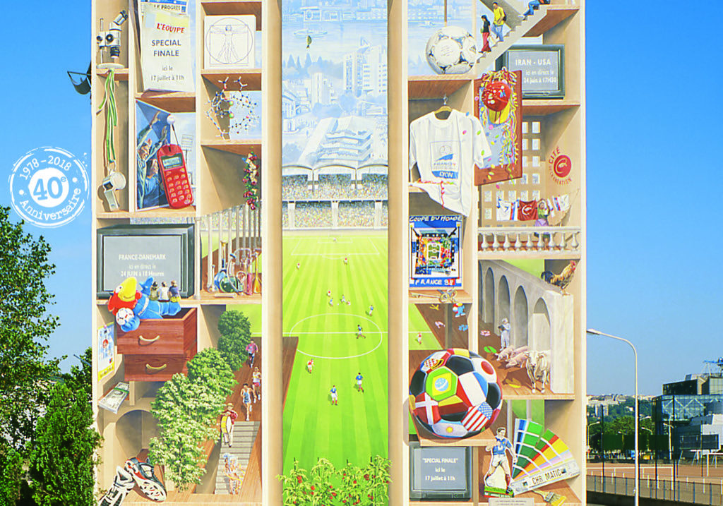 Mural of gerland detail football world cup 1998 lyon 7th france