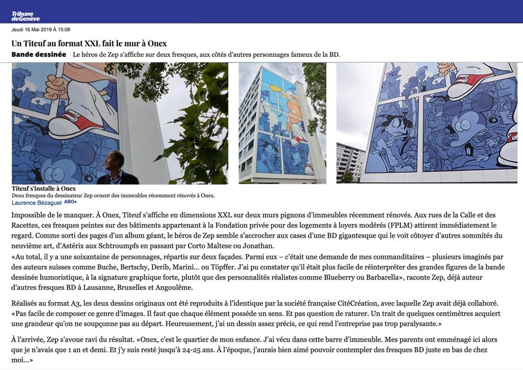 Tribune de Genève : un Titeuf au format XXL fait le mur à Onex