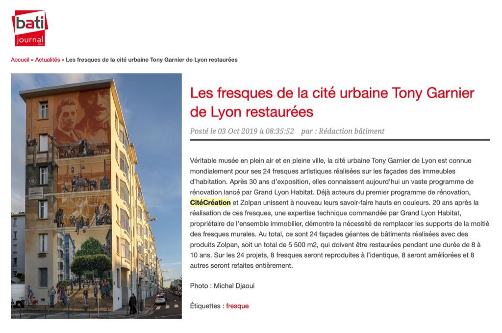 Bâti Journal : Les fresques de la cité urbaine Tony Garnier de Lyon restaurées
