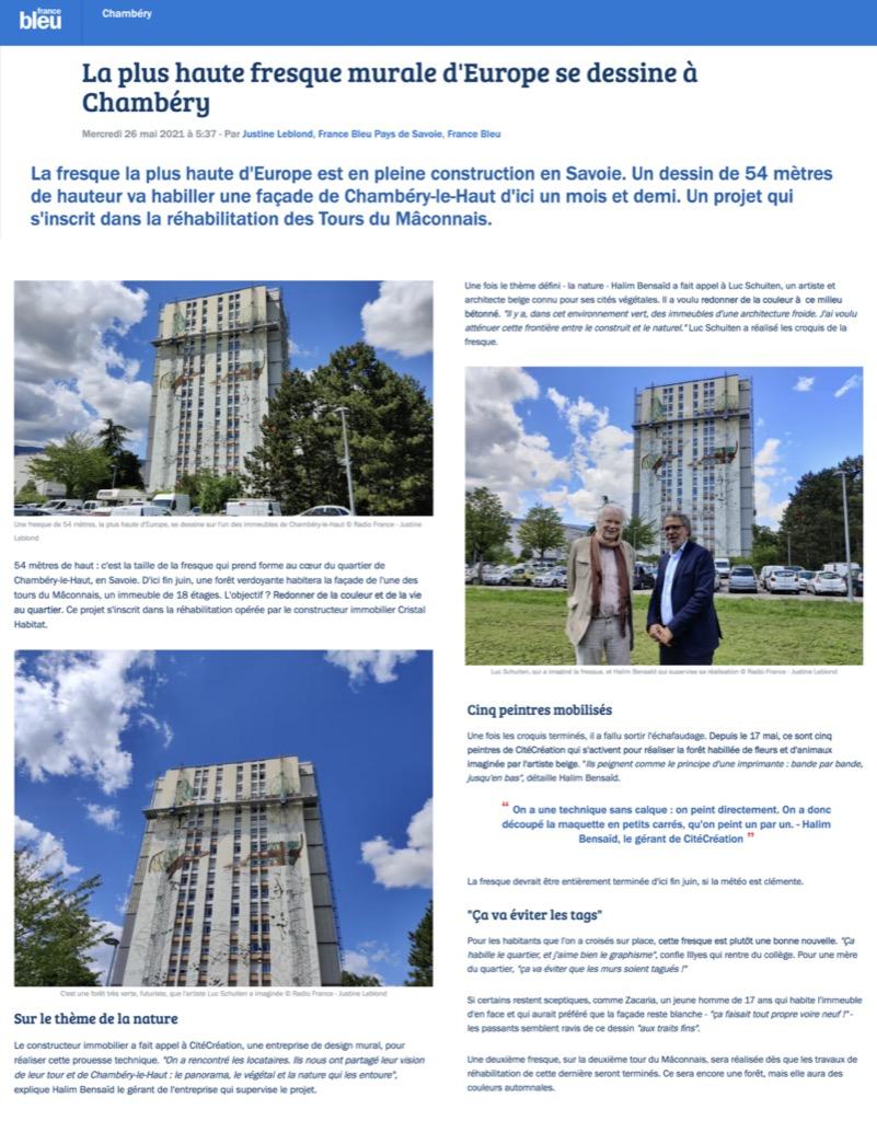 France Bleue - La plus haute fresque murale d'Europe se dessine à Chambéry