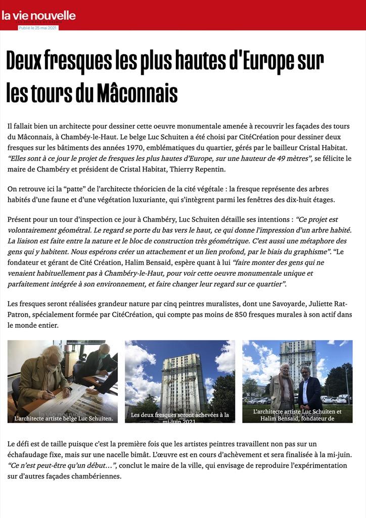 La Nouvelle Vie - Deux fresques les plus hautes d'Europe sur les tours du Mâconnais